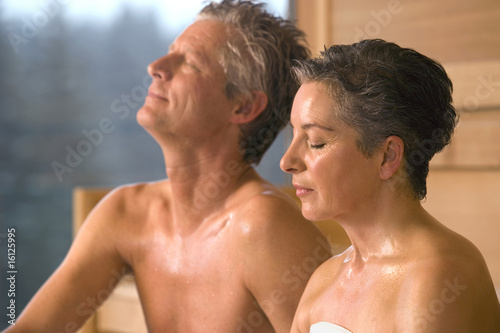 Mature couple in sauna