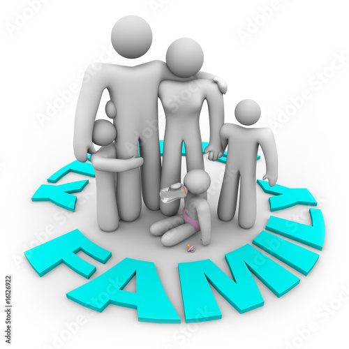 Family Word Circle - Mom Dad and Kids