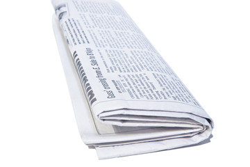 Rolled Newspaper isolated on white