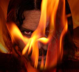 Flaming demon - halloween theme