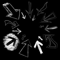 Vector arrow doodles pointing in a circular frame shape.
