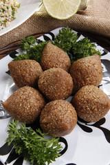 Deep fried Kibbe middle eastern lamb and bulgur wheat