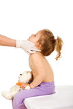Doctor examining kid with small pox or skin rash poster