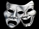 Merging theater masks poster