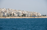 view of metropolitan area of athens greece from the port poster