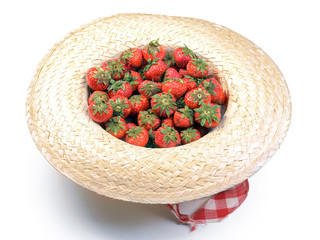 Strawberry in straw hat