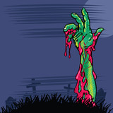Zombie hand coming out the ground illustration poster