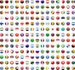 canvas print picture - Flags of the World buttons (x195)