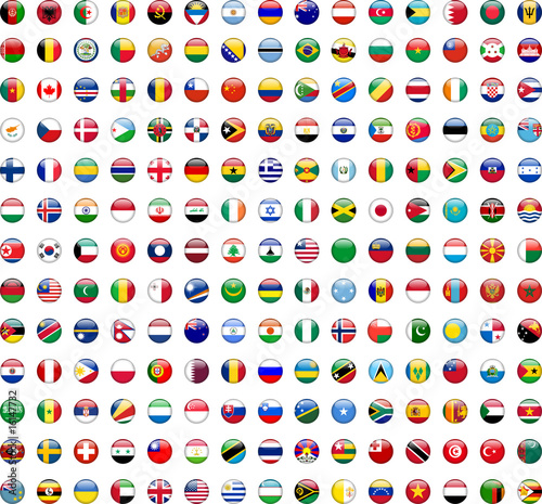 canvas print picture Flags of the World buttons (x195)