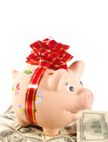 Happy Piggy Bank on the heap of dollars poster