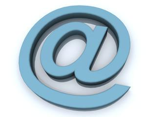 3d peacock blue e-mail letter symbol at arroba électronique