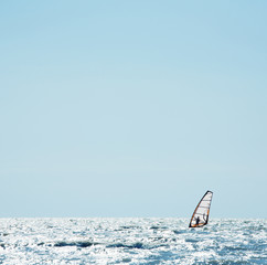 Windsurf sail on the sea
