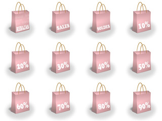 Shopping bags printed with great discounts at the front