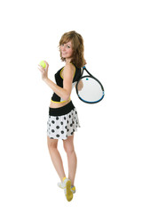 nice girl holding a tennis racket and a ball
