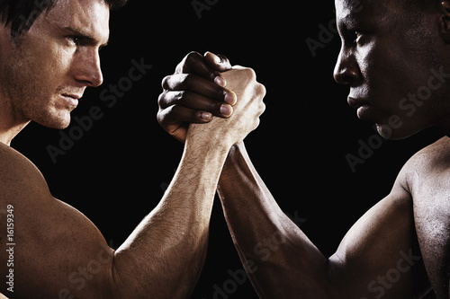 Two men arm wrestling