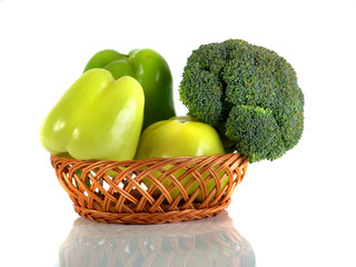 paprika and broccoli isolated