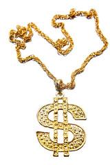 Dollar symbol necklace isolated on white