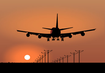 Jumbo Jet Sunset Landing Vector