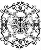 black hexagonal curled design poster