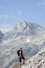 Hiker in the Wetterstein Mountains, Alps Germany
