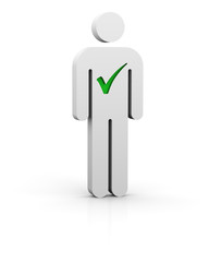 Man with green  tick symbol in white background