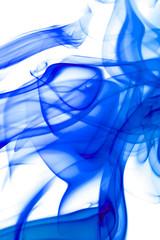 Blue smoke on white.