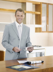 Salesman in interior design showroom