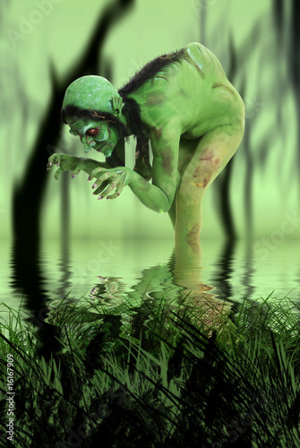 Green looking witch like creature in swamp