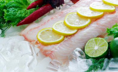 Sturgeon fish fillet on ice decorated with lemon and vegetables