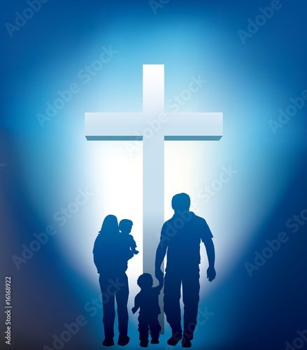 christian family walking towards a cross