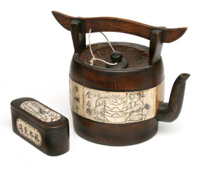 Antique chinese teapot of bamboo and ivory. More tea images