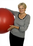 happy older pensioner woman with ball poster