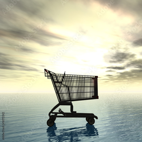 shopping cart in sunset 3d