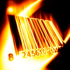 Barcode surrounded by fire on a black background