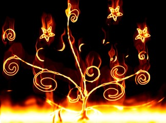 Plants with fire on a black background