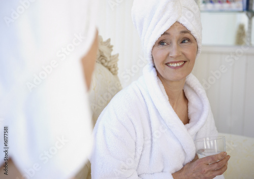 Mature women awaiting spa treatment