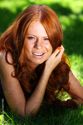 Portrait of the beautiful red-haired girl
