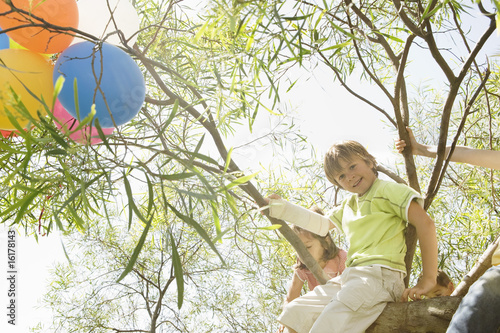 Children sitting in tree at birthday party