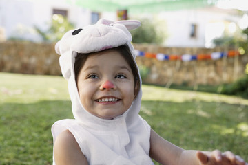 Young girl in rabbit costume