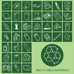 Recyclable Material Icons Individually Layered