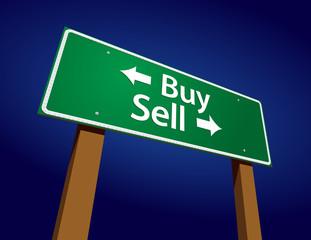 Buy, Sell Green Road Sign Vector Illustration