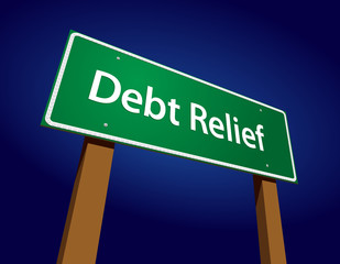 Debt Relief Green Road Sign Vector Illustration