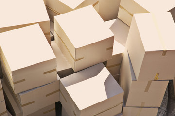Large group of stacked boxes
