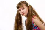 Girl with Long Blond-Brown Ponytails poster