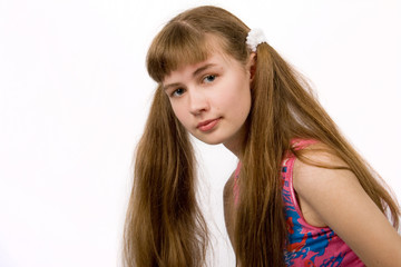 Girl with Long Blond-Brown Ponytails