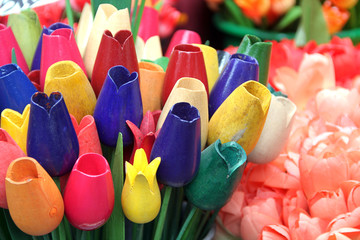Wooden tulips in Amsterdam flower market