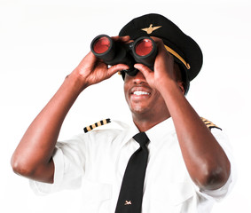Pilot looking through Binoculars
