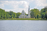 Orthodox temple in Stamierine(Latvia), kind from lake poster