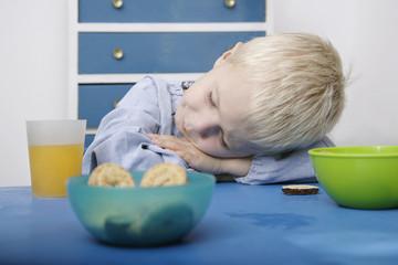Boy sleeping on lunch table