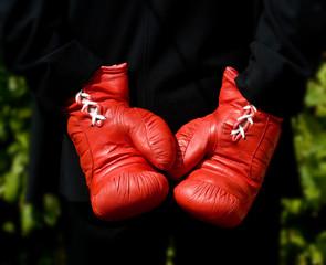Boxing gloves behind back